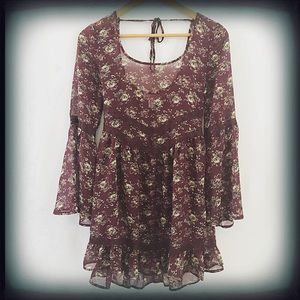 Band of Gypsies Boho Floral Bell Sleeve Top XS